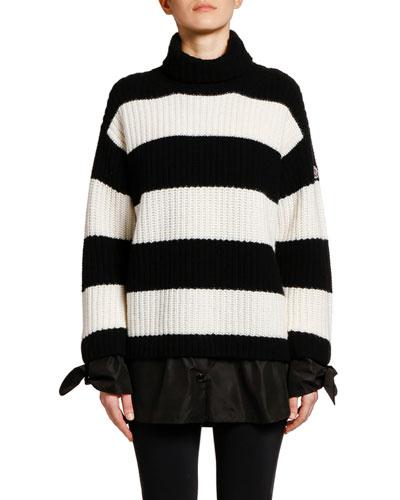 Black Wool Striped Sweater | Neiman Marcus