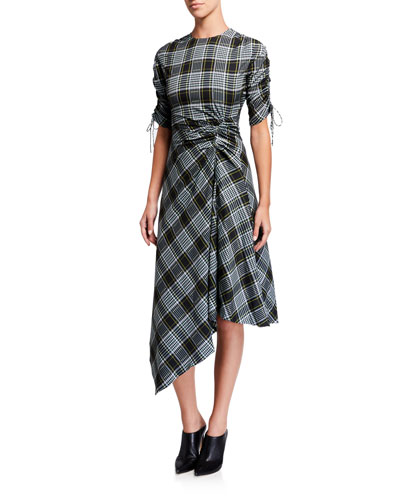 Ruched Plaid Short-Sleeve Handkerchief Dress
