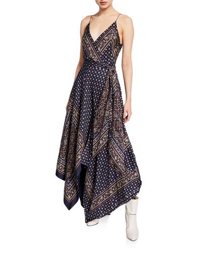 Scarf-Print Sleeveless Long Handkerchief Dress