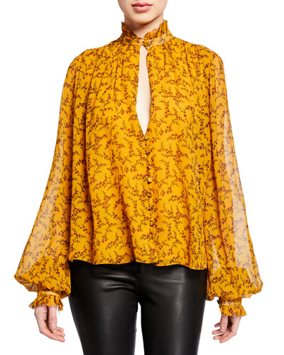 Printed Silk Chiffon Ruffle High-Neck Blouse