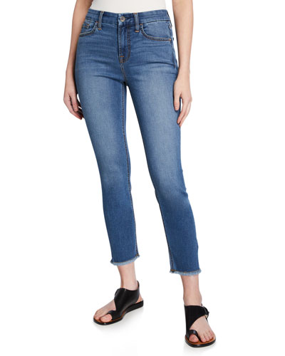 Cropped Skinny Jeans with Frayed Hem