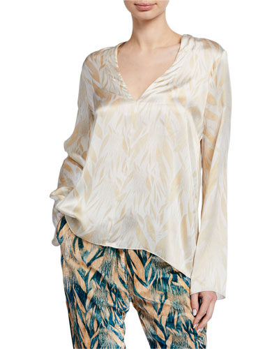 Printed Satin V-Neck Top