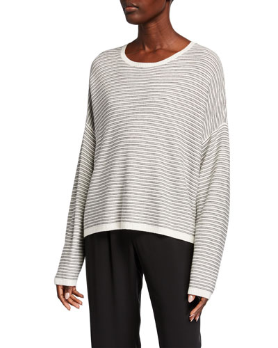 Plus Size Striped Dropped Shoulder Long-Sleeve Sweater