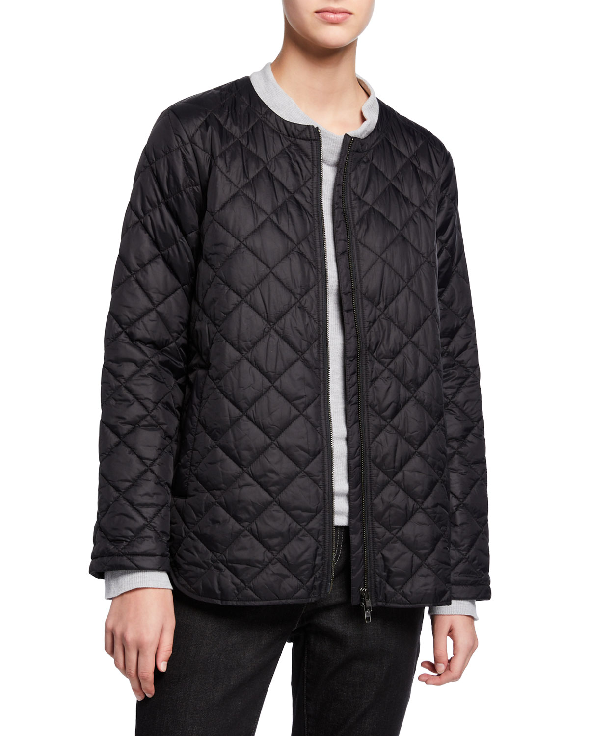 Eileen Fisher Jackets RECYCLED NYLON DIAMOND QUILTED ZIP-FRONT SHIRTTAIL HEM JACKET