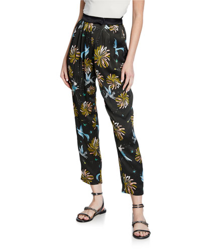 Printed Satin Ankle Pants