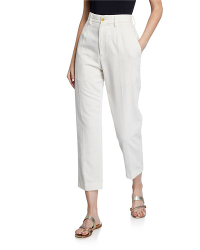Slub Cotton Ankle Pants