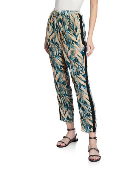 Forte Forte Printed Velvet Pants with Side Stripes