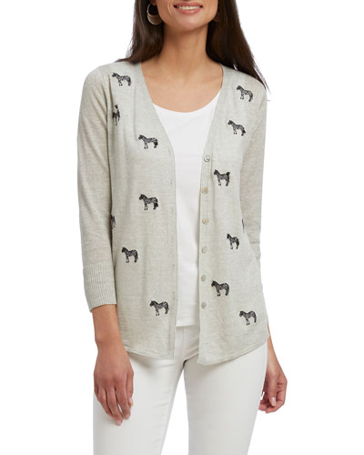 Plus Size Zebra Crossing Cardigan