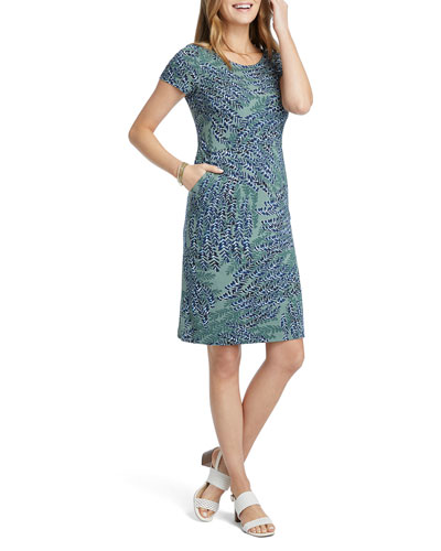 Leaf Direction Short-Sleeve Dress