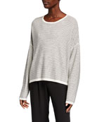 Eileen Fisher Striped Dropped Shoulder Long-Sleeve Sweater