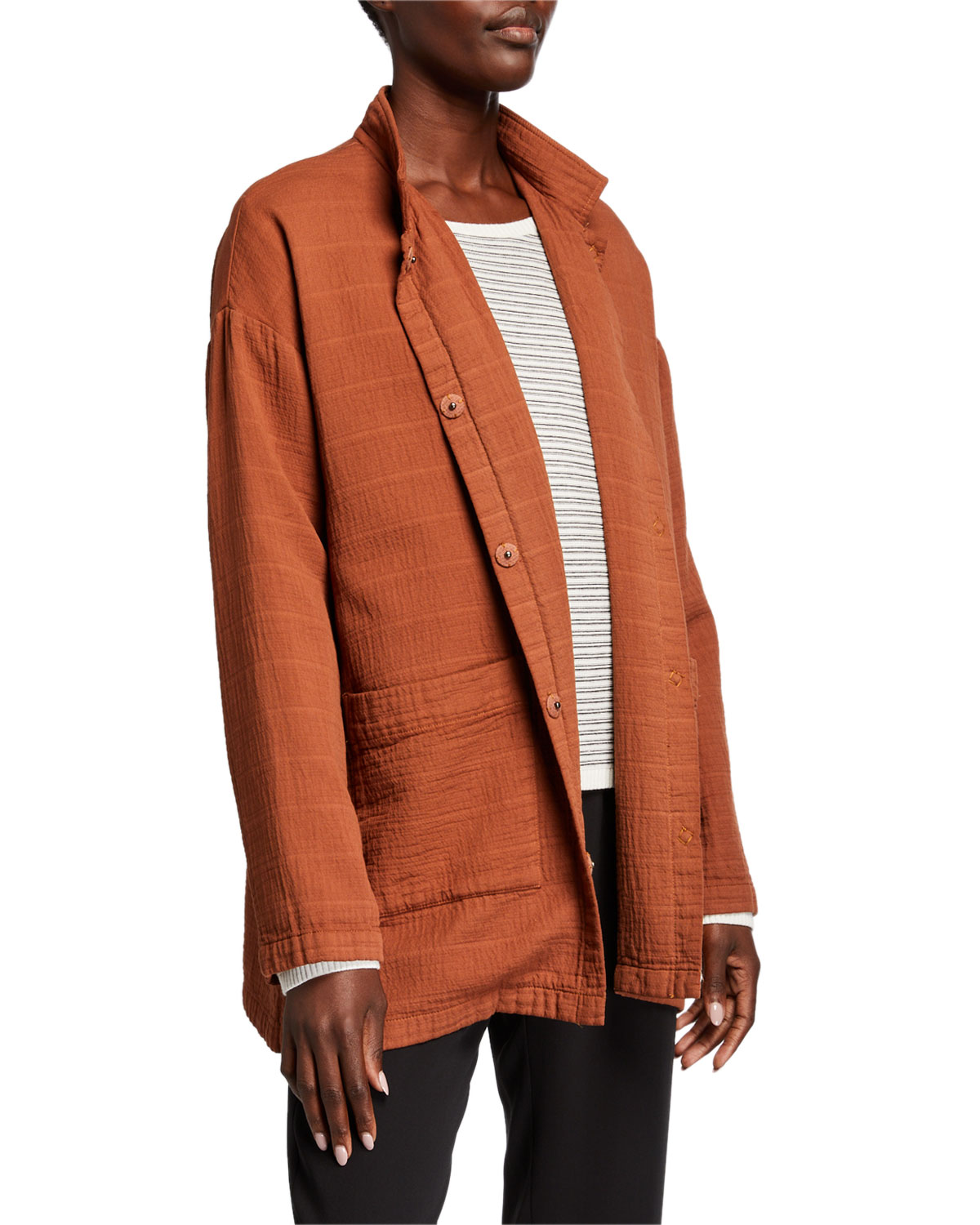 Eileen Fisher Jackets ORGANIC COTTON CHANNEL STAND COLLAR BUTTON-FRONT JACKET