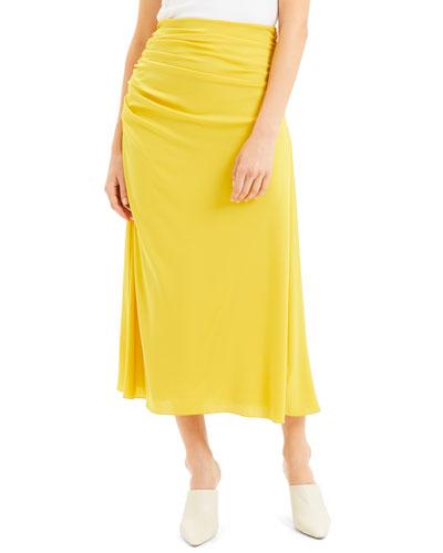 Twisted Silk Midi Skirt
