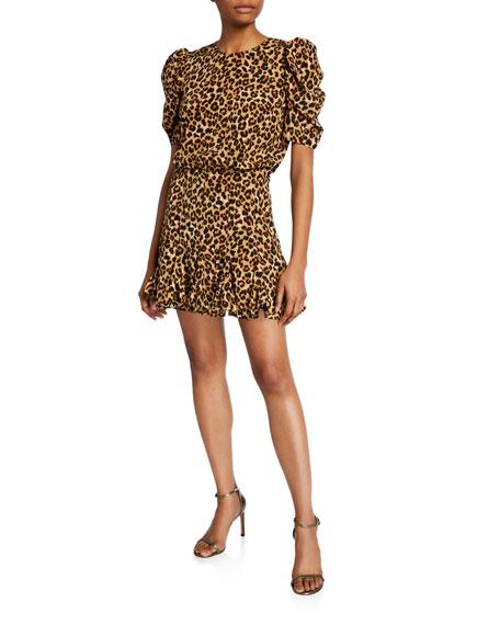 Veronica Beard Lila Puff-Sleeve Leopard-Print Flounce Dress