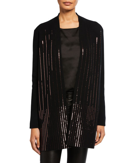 Neiman Marcus Cashmere Collection Cashmere Sequin Rows Long-Sleeve Cardigan