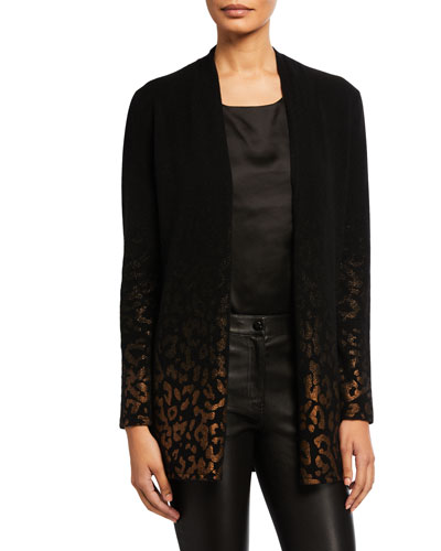Cashmere Metallic Leopard Open-Front Cardigan