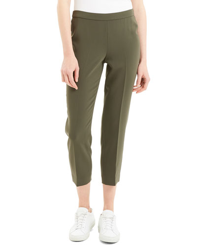 Basic Cropped Crepe Pull-On Pants