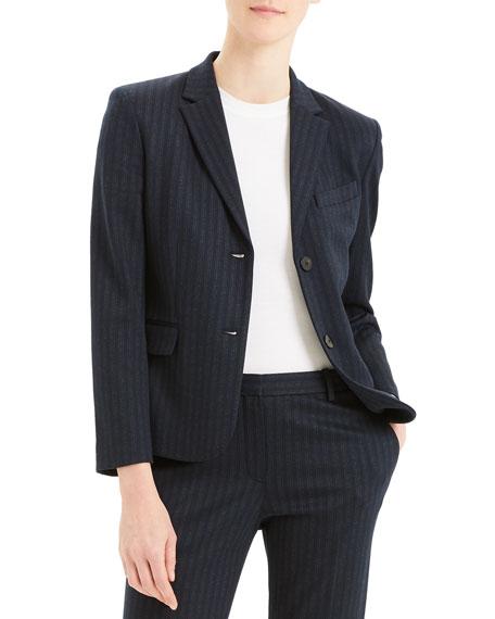 Theory Shrunken Pale Stripe Knit Jacket