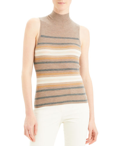 Regal Cashmere Striped Turtleneck Shell Top
