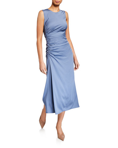 Twisted Ruched-Side Silk Dress