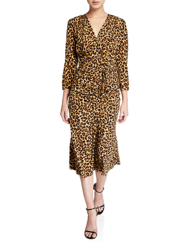 Arielle Leopard-Print V-Neck Dress