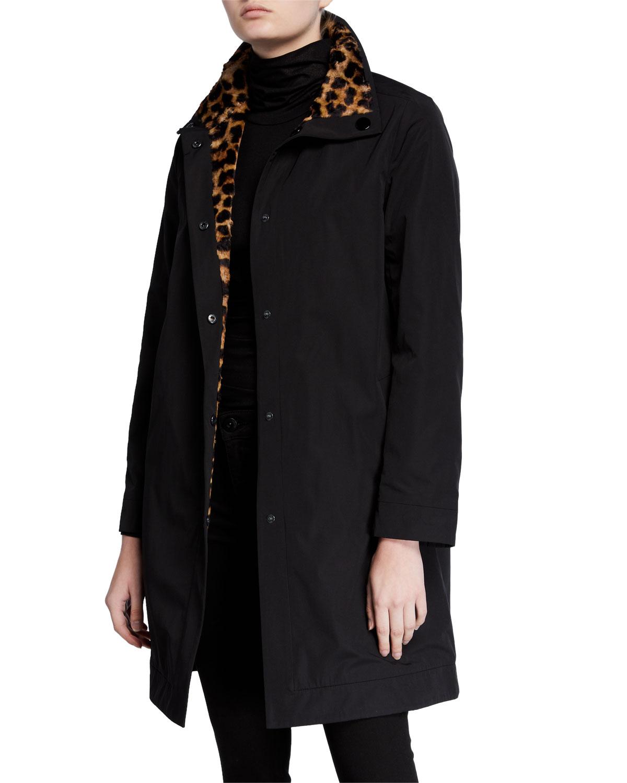 Jane Post Coats REVERSIBLE RAIN COAT W/ LEOPARD PRINT