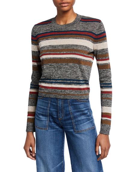 Veronica Beard Jora Cropped Striped Pullover