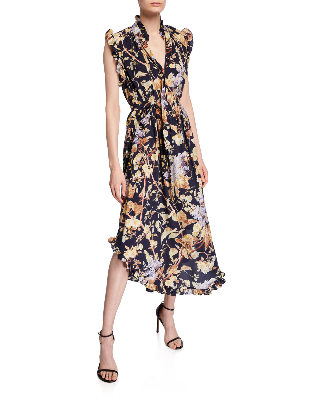 Zimmermann Dresses Sabotage Floral Self-Tie Midi Dress