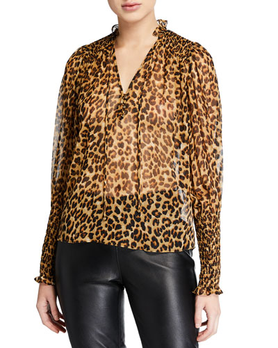 Jaz Silk Leopard-Print Sheer Blouse