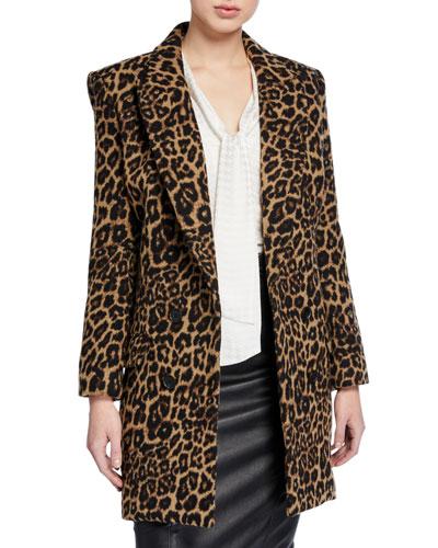 Senna Leopard-Print Dickey Coat