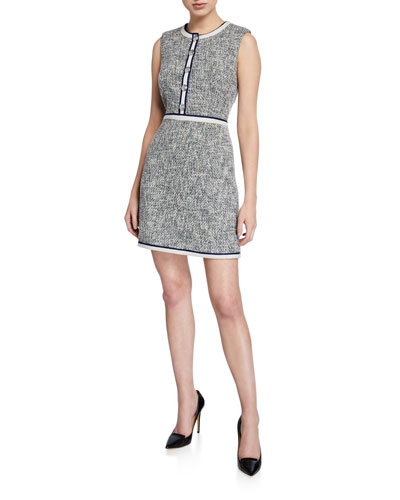 Julie Sleeveless Tweed Dress with Buttons