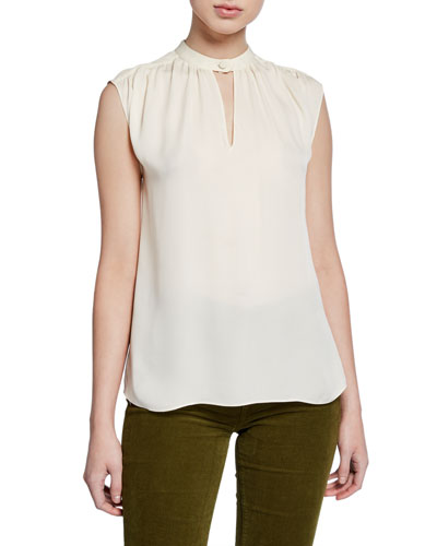 Kalle Sleeveless Silk Keyhole Top