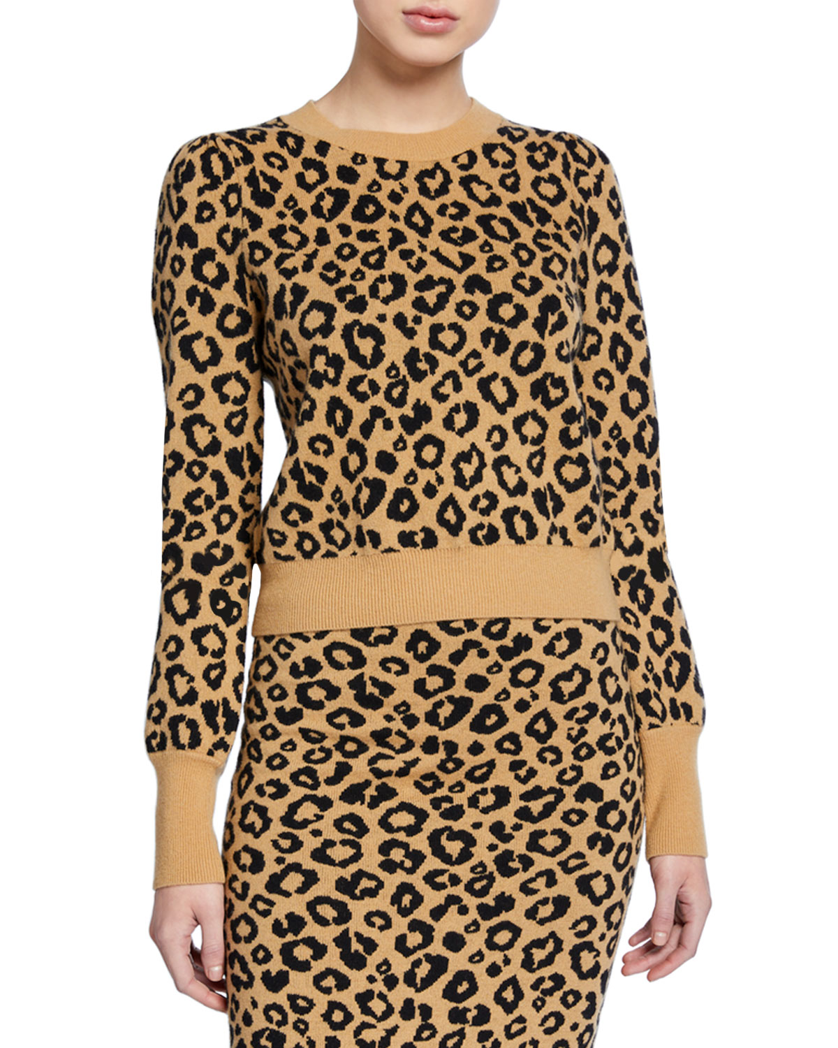 Veronica Beard Sweaters PENNY LEOPARD-PRINT PULLOVER SWEATER