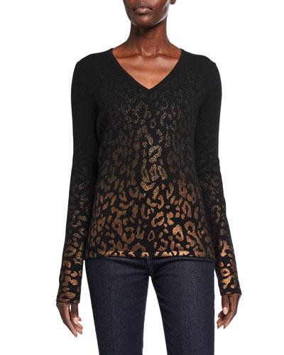 Metallic Leopard Cashmere V-Neck Sweater