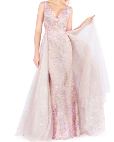 Floral Illusion V-Neck Sequined Column Gown with Overskirt