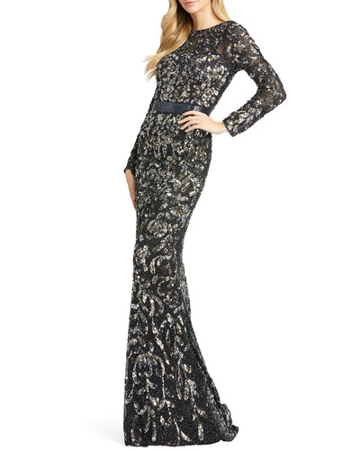 Floral Sequin Long-Sleeve Illusion Gown