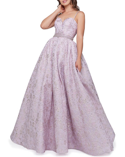Sweetheart Floral Brocade Sleeveless Ball Gown