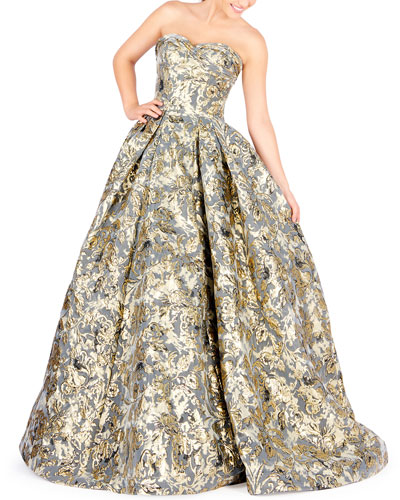 Strapless Floral Brocade Ball Gown