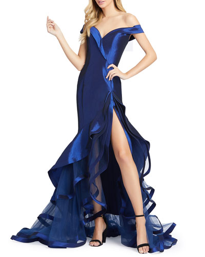 Off-the-Shoulder Sweetheart Tiered Taffeta Mermaid Gown