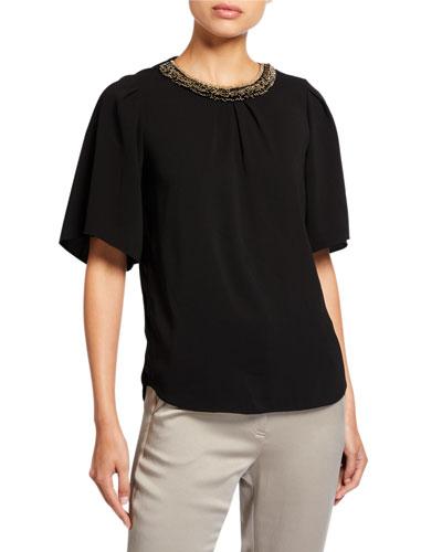 Flowy Short-Sleeve Embellished Crewneck Top