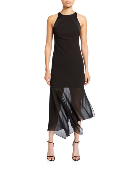 Halston Sleeveless Crepe Georgette Cocktail Dress