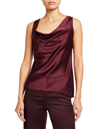 Cowl-Neck Sleeveless Satin Top