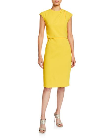 Halston Cap-Sleeve Draped-Neck Crepe Sheath Dress