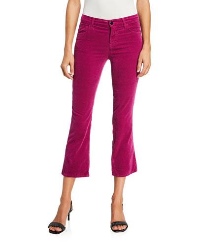 Selena Mid-Rise Velvet Crop Pants