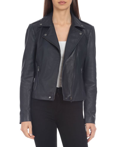 Lamb Leather Biker Jacket, Navy