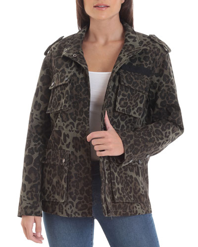Leopard-Print Cotton Cargo Jacket