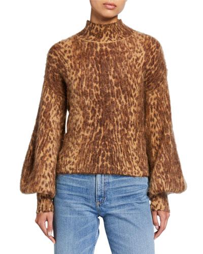 Espionage Animal-Print Bishop-Sleeve Turtleneck Sweater