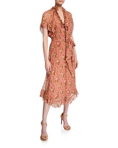 Espionage Frill Floral Midi Dress