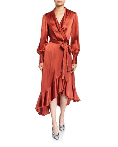 Espionage Blouson-Sleeve Silk Midi Wrap Dress