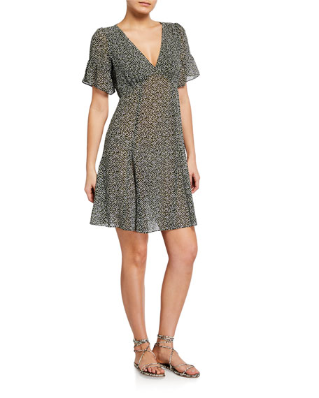 MICHAEL Michael Kors Lilly Printed Short-Sleeved Mini Flare Dress