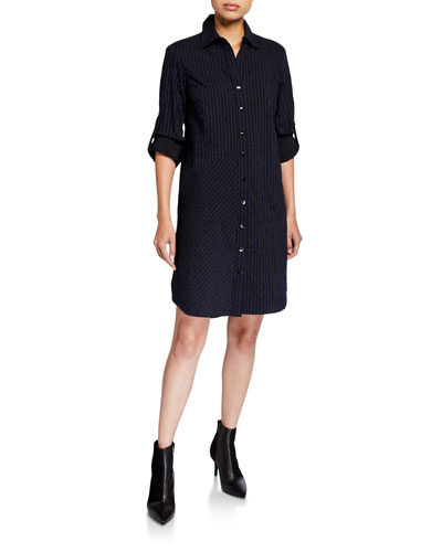 Bailey Textured Stripe Button-Down Shirtdress